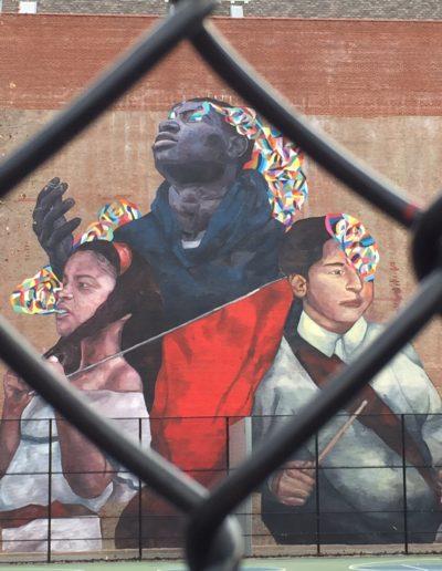 Three children mural