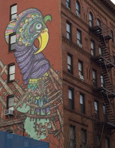 Fenced chicken mural